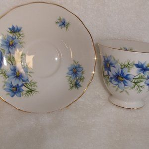 Queen Anne bone china teacup saucer blue flowers